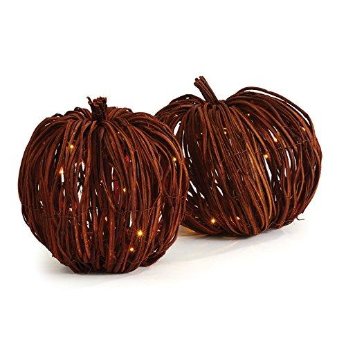 Napa Home & Garden Grapevine Lighted Pumpkins ST/2 ORG (Wicker Lights With Pumpkin)