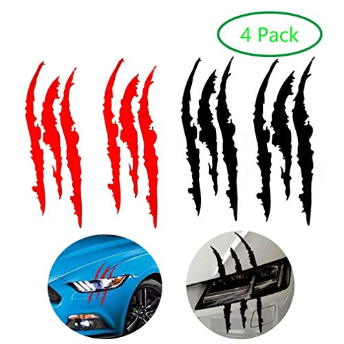 (AMOUTOR 4PCS Claw Marks Decal Reflective Sticker, Waterproof Headlight Decal Fit for All The car Models (Red and Black) )