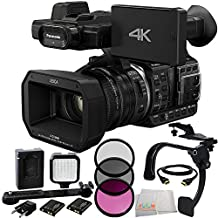 Panasonic HC-X1000 4K-60p/50p Camcorder with High-Powered 20x Optical Zoom and Professional Functions (Black) + 3 Piece Filter Kit (UV+CPL+FLD) + 36 PIN LED Video Light + 5 Foot HDMI Cable + Scorpion Stabilizer + Microfiber Cleaning Cloth