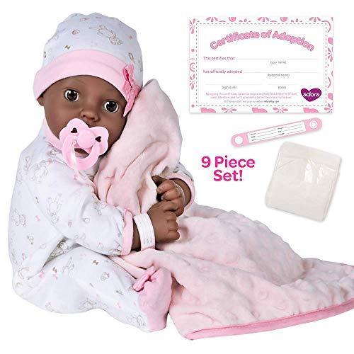Adora Adoption Baby Joy 16 Inch Vinyl Girl Newborn Weighted Soft Cuddle Body Baby Doll Toy Gift Set with Open Close Brown Eyes for 3 Year old kids and up