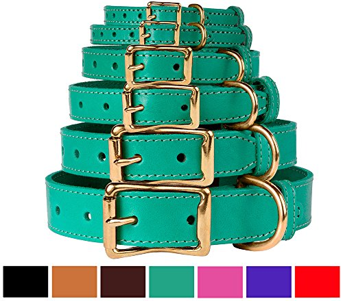 (BronzeDog Leather Dog Collar, Genuine & Durable, Brass Buckle Comfort Pet Collars Adjustable for Puppy Small Medium Large Dogs, Pink Red Black Brown Purple Green (Neck Size 11