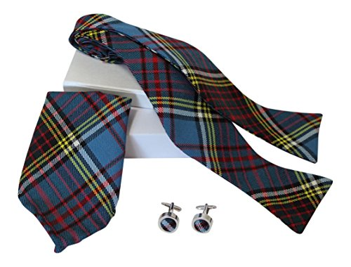 Luxury Anderson Modern Tartan Classic Self Tie Bow Tie, Pocket Square and Silver Cufflink Set