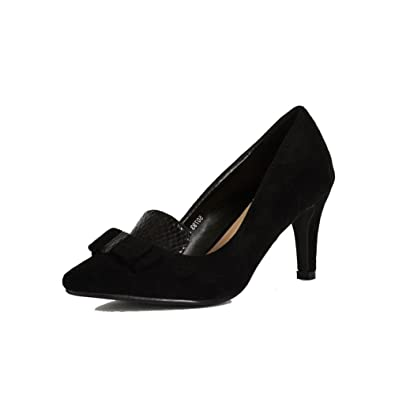 SendIt4Me Black Faux Suede Low Heel Court Shoes GvXlrn6f5