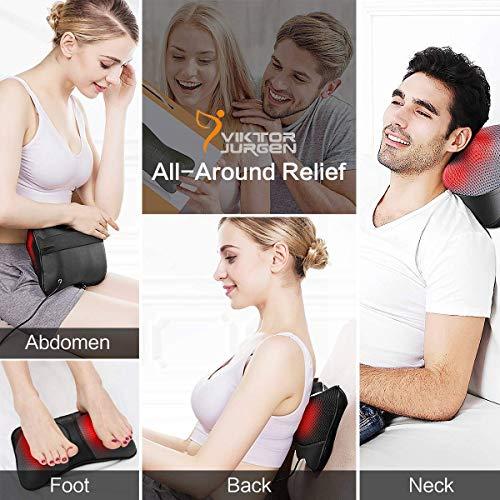 VIKTOR JURGEN Neck Massage Pillow Shiatsu Deep Kneading Shoulder Back and Foot Massager with Heat-Relaxation Gifts for Women/Men/Dad/Mom