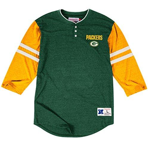 Green Bay Packers Home Stretch Henley 3/4 Sleeve T-Shirt, NFL Mens Throwback Tee Shirt (M) ()