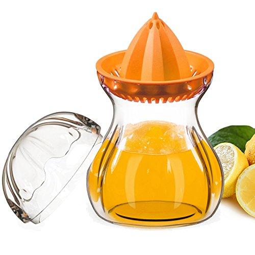 SELEWARE Premium Tritan Plastic Manual Citrus Squeezer Juicer Container Set with Lid, BPA-Fre, Freezer, Dishwasher Safe (Citrus Glass)