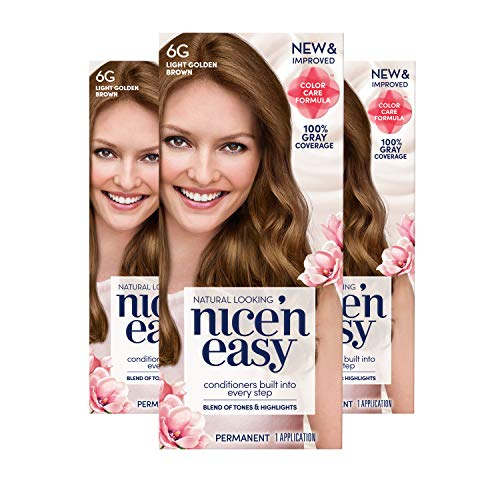 Clairol Nice 'n Easy Permanent Hair Color, 6G Light Golden Brown, Pack of 3 Allergy Gentle Single-Step Hair Dye with Conditioners, Natural-Looking Color, Salon Highlights, Grey Cover
