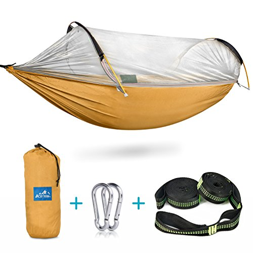 Ace Teah Camping Hammock with Mosquito Bug Net, Outdoors Travel Mosquito Net Hammock with Tree Straps Easy to Set up Portable Swing Sleeping Hammock Bed for Hiking Backpacking Backyard - Orange - Net Mosquito Bar