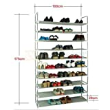 how to store shoes KCHEX>50 Pair 10 Tier Space Saving Storage Organizer Shoes Tower Rack Free Standing>Perhaps how to store different kinds of shoes or boots in a shoe rack is a big problem for each housewife. This 100c