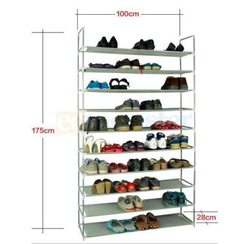 KCHEX>50 Pair 10 Tier Space Saving Storage Organizer Shoes Tower Rack Free Standing>Perhaps how to store different kinds of shoes or boots in a shoe rack is a big problem for each housewife. This 100c