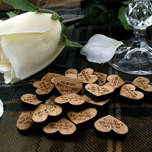 100 love heart decorations, wooden table decorations, wooden hearts, rustic wedding, vintage wedding Personalised Gift Ideas