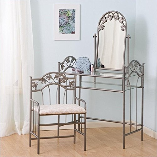 Coaster Nickel Bronze Finish Metal Vanity Table Stool & Mirror (Makeup Table And Chair)