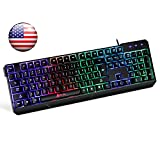 ⭐️Klim Chroma Backlit Gaming Keyboard - Wired USB - Led Rainbow Lighting - Ergonomic, Quiet, Water Resistant - Black RGB PC Windows PS4 Mac Keyboards - Teclado Gamer Silent Keys with Light Color