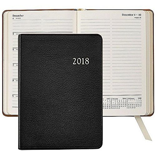 2018 Notebook Planner 7in BLACK Goatskin Leather by Graph...