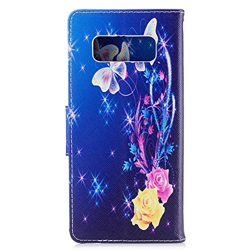 Galaxy Note 8 Case,Note 8 Case with Stylus Pen,Qbily Floral Butterfly Luxury Glitter Bling Leather Flip Kickstand Cover Wallet Case [Card Slots Holder/Magnet] Cute Girls Women Protective Case Blue by Qbily (Image #2)