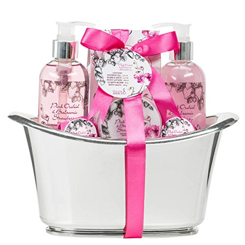 Pink orchid balsamic strawberry Aromatherapy Spa Gift set in a silver tub2 Bath Bombs Body lotion Bath saltsShower gel Bubble Bath