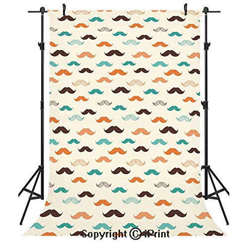 Indie Photography Backdrops,Retro Mustache Pattern in Stylized Curly