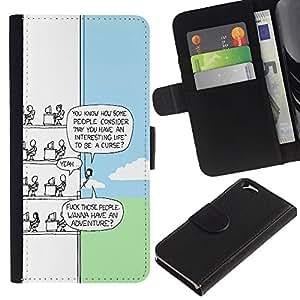 EJOY---Tirón de la caja Cartera de cuero con ranuras para tarjetas / Apple Iphone 6 / --Funny Cartoon
