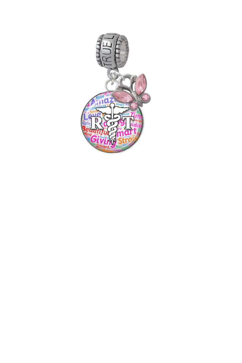 Domed Multi Color RT True Love Waits Charm Hanger with Mini Pink Butterfly