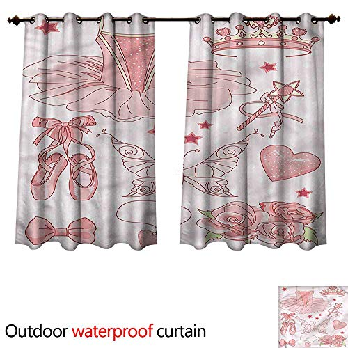 cobeDecor Princess Outdoor Curtain for Patio Costume Shoes Tiara Roses W72 x L63(183cm x 160cm) (Costume Lavender Rubies)