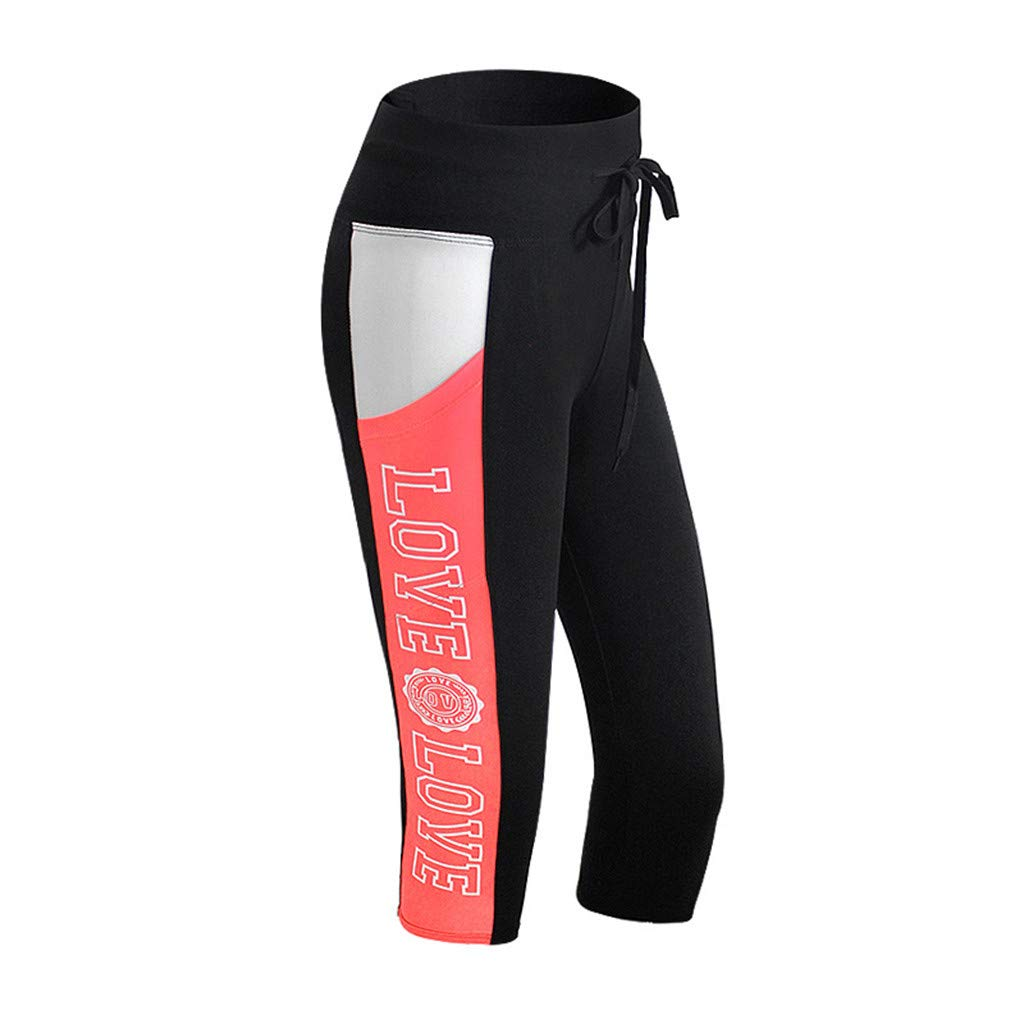 Kinglly Women Adjustable Leggings High Waist Yoga Sports Pants Compression Workout Running Tights Red