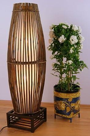 Rattan Auf Holzgestell Asiatische Designerlampe Wohnzimmerlampe Standlampe