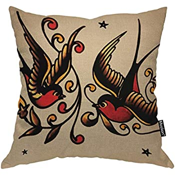 Moslion Swallow Throw Pillow Cover Animal Wing Retro Vintage with Branches Square Pillow Case Cushion Cover for Home Car Decorative 18x18 Inch Cotton Linen