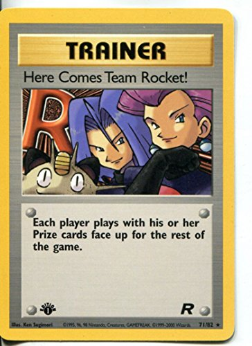 Pokemon Team Rocket 1st Edition Rare Card #71/82 Here Comes Team (82 Team Rocket Pokemon Card)