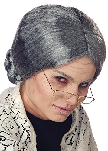 [UHC Grandma Granny Grey Old Lady Wig w/ Bun Costume Halloween Accessory] (Old Grandma Costumes)