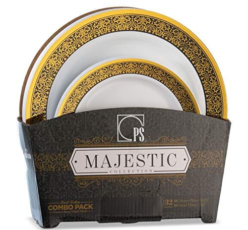 (32 Piece White, Gold and Black Plastic Plates Set Elegant Disposable Plastic Dinnerware for 16 Guests Includes 16 Fancy Disposable Dinner Plates 16 Dessert Plates - Posh)