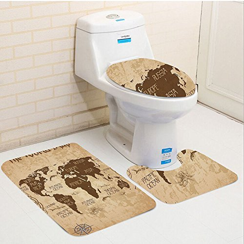 Keshia Dwete three-piece toilet seat pad customMap Decorative World Map Ideas Oceans Continents Compass Old Globe Antiqued Design Students Brown Beige (Atlanta Falcons Rug Mat)