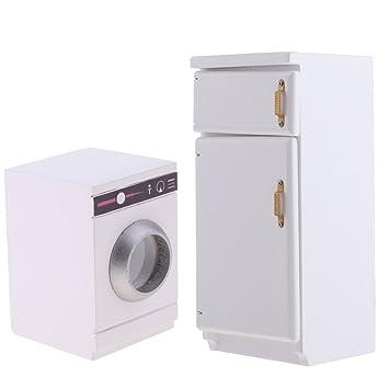 Baoblaze Miniatur Küche Kühlschrank Und Waschmaschine Badezimmer Möbel  Modell Für 1/12 Puppenhaus Küche Dekoration: Amazon.de: Spielzeug