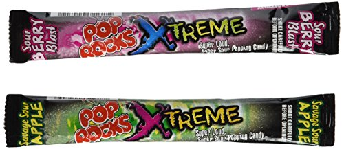 POP ROCKS XTREME Sour Popping Candy 2-Flavor Variety: Twelve 0.24 oz Packets Each of Sour Berry Blast and Savage Sour Apple in a BlackTie Box (24 Items (Bulk Rock Candy)