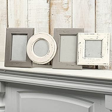 Factory Direct Craft Shabby Chic Cream and Gray Painted Multi Photo Picture Frame