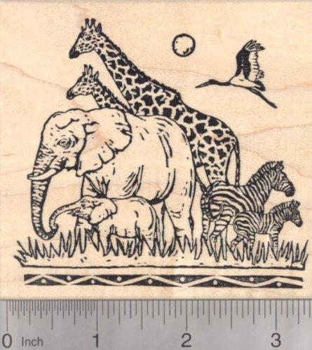 African Wildlife Rubber Stamp, Elephant, Giraffe, Zebra, Savannah
