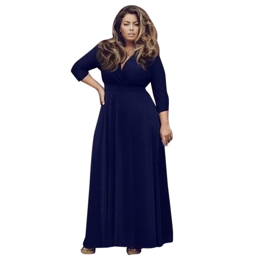 übergröße Kleider damen Kolylong® Frauen Elegant Tiefer V-Ausschnitt ...