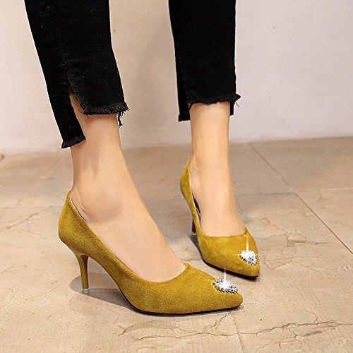 Europeo Y Americano Delgado Negro Boda CXY con de Zapatos la Zapatos Rojo Tacón de Zapatos Zapatos Amarillo de Puntiagudo de Tacón de Otoño 36 Trabajo z8pn8B0q