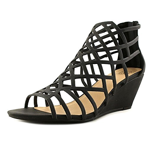 Material Girl Womens Henie Open Toe Casual Strappy Sandals Black wBoNb