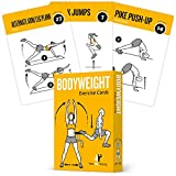 EXERCISE CARDS BODYWEIGHT - Home Gym Workout Personal Trainer Fitness Program Guide Tones Core Ab Legs Glutes Chest Bicepts Total Upper Body Workouts Calisthenics Training Routine