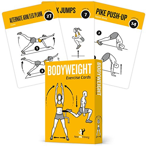 EXERCISE CARDS BODYWEIGHT - Home Gym Workout Personal Trainer Fitness Program Guide Tones Core Ab Legs Glutes Chest Bicepts Total Upper Body Workouts Calisthenics Training - Card Size Chart