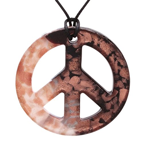 (Bleek2Sheek Murano-Inspired Glass Black and White Peace Sign Pendant)
