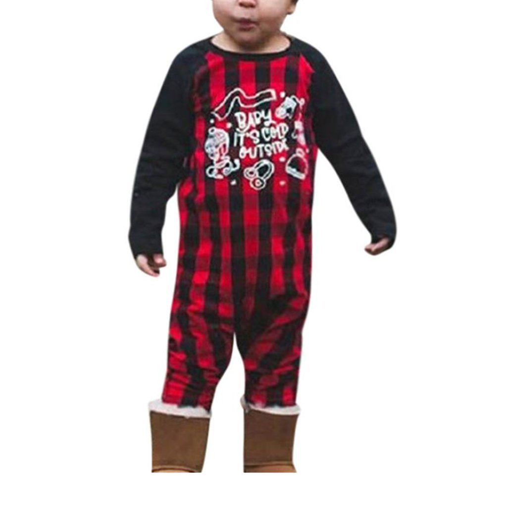 sunnymi For 0-18 Months Kids Fashion Newborn Infant Toddler Baby Boys Girls Plaid Splice Clothes Letter Romper Jumpsuit Outfits