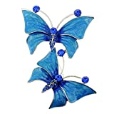 Blue Butterfly Couple Crystal Pin Brooch