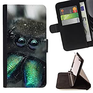 DEVIL CASE - FOR Samsung Galaxy S4 Mini i9190 - Cute Monster Creature Furry Spider Animal - Style PU Leather Case Wallet Flip Stand Flap Closure Cover