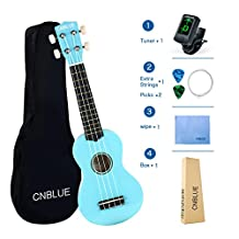 Soprano Ukulele 21 inch for Beginner Hawaii Ukulele with Tuner, Picks, Extra String, Wipe, Bag (Light Blue)