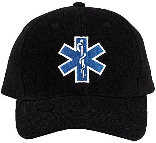 Low Profile Black Insignia Cap - Black EMS Insignia Hat Cap Adjustable Size
