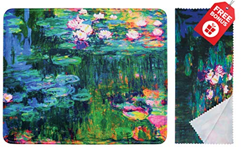 (Claude Monet Water Lilies VI Mouse Pad with Colorful Classic Artwork Design. Non Slip Base. Matching Microfiber Cleaning Cloth for Eye Glasses & Electronics. Cool Mouse Pad for Laptop & Travel )