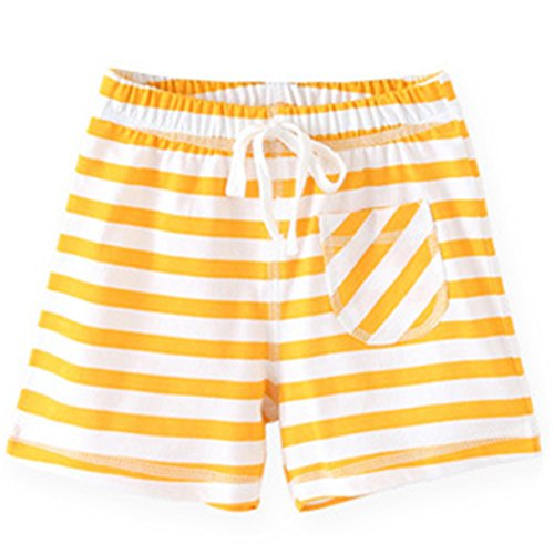 Ding-dong Baby Kid Boys Girls Striped Shorts(Yellow,1T)