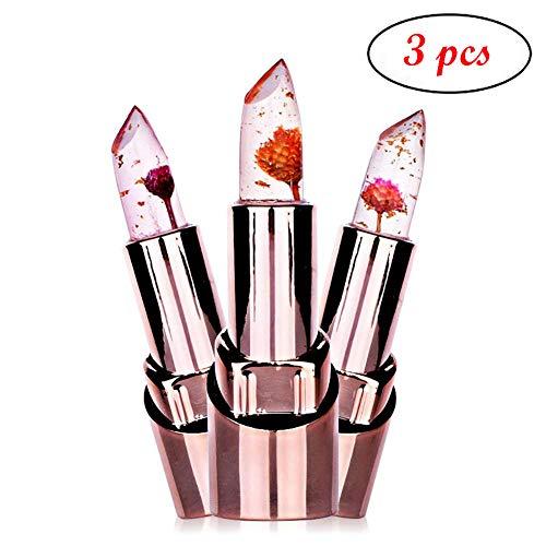 (Spdoo 3pcs/set Jelly Flower Lipstick Lip Care Temperature Change Waterproof Long Lasting Moisturizer Lipstick )