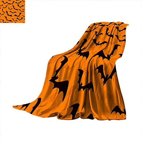 (Angoueleven Blanket as Bedspread Seamless Wallpaper with Bats for Halloween on Orange Background Throw Blanket)